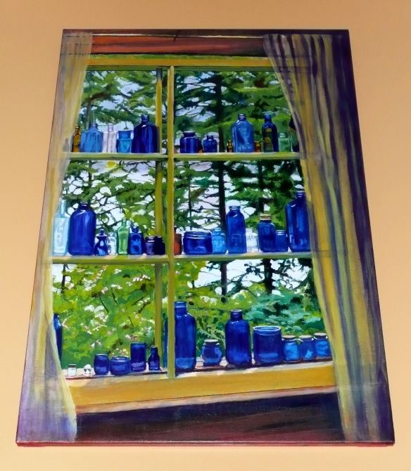 Painting by Robert Melville: Blue Glass Looking Out on Kootenay Lake
