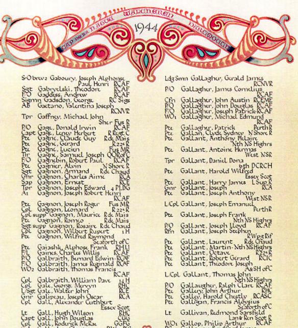 Joseph Gallant Book of Remembrance Ottawa