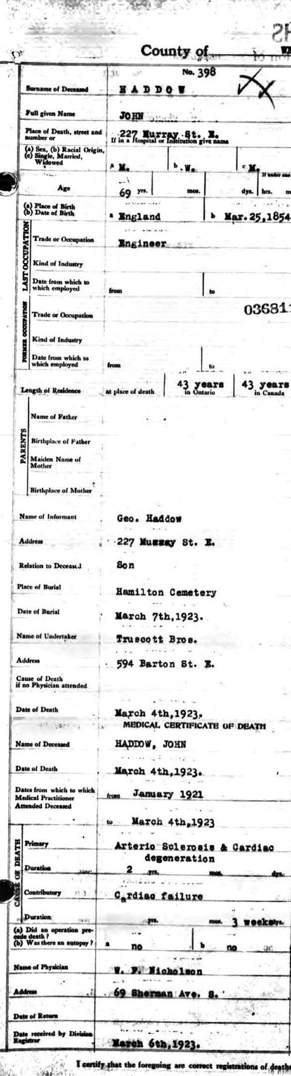 Death Certificate John Haddow