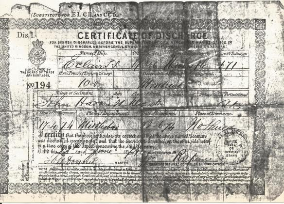 John Haddow Discharge Papers Front 2