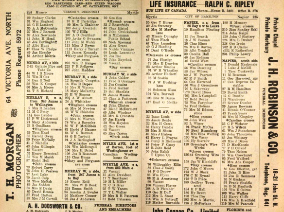 Early Hamilton Directory 227 Murray Street E
