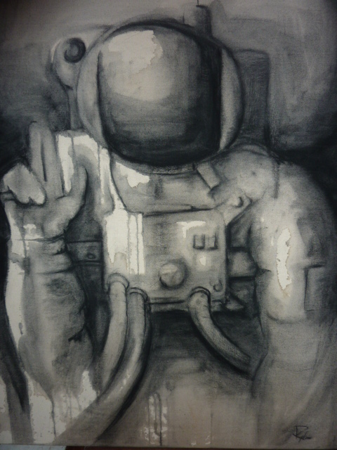 Rylan's Work: Charcoal on raw canvas.