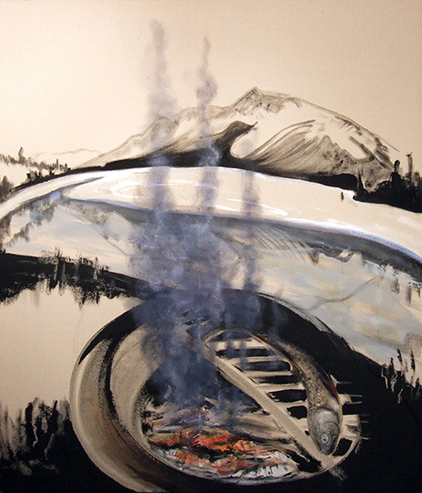 "Marianne Gerlinger ""Smoked"", 2013, 42 x 48 in., acrylic, black gesso & oil stick on canvas"
