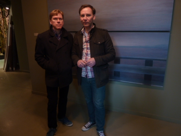 Steve and Steve standing in front of an amazing Jeffrey Spalding piece.