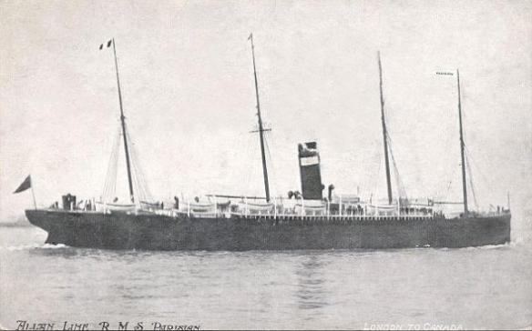 British Association Ship Parisian: Allan Line Postcard (1880-1914)