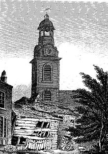 1817 Etching of Christ Church, an Anglican Church in Southwark