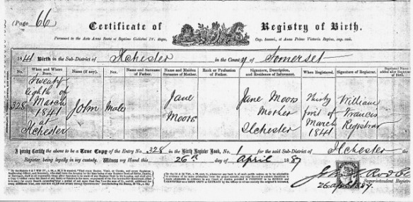 Birth Certificate John Moors of Jane