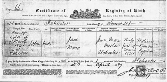 Birth Certificate John Moors of Jane
