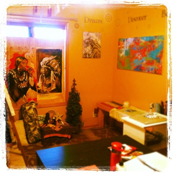 Photo Credit: Cheryl Todd Shergold  Two treasures find their way into an inspiring artist's studio.