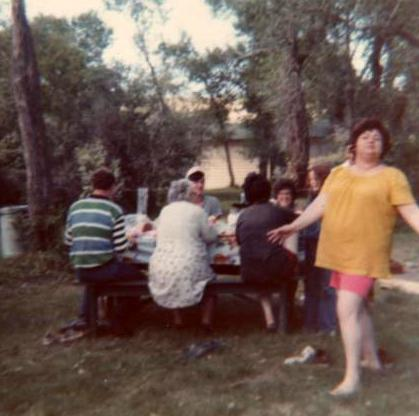 Family Reunion St. Mary's Dam...cousin, Linda in foreground...Gramma Florence Elliott Moors with her back to us.