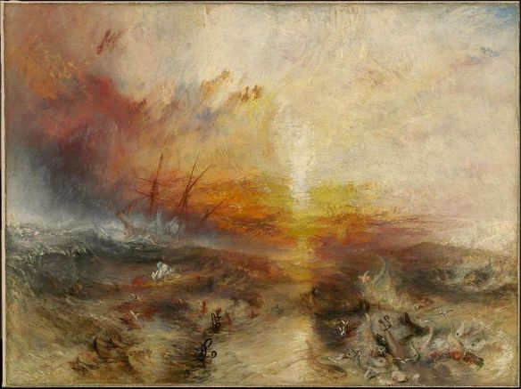 "M. W. Turner (1775–1851)  Description  Slavers throwing overboard the Dead and Dying — Typhoon coming on (""The Slave Ship"") Date 1840 Medium oil on canvas Dimensions 90.8 × 122.6 cm (35.7 × 48.3 in)"