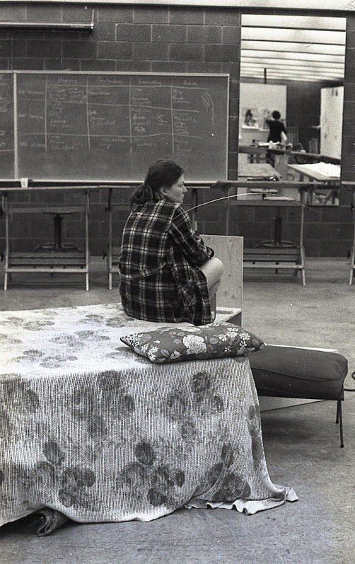 1977 March U of L Herb Hick's Drawing Class (I include this photograph because my friends from residence would sleep on this platform at all hours of night while I worked.) Photo Credit: Robert Waldren