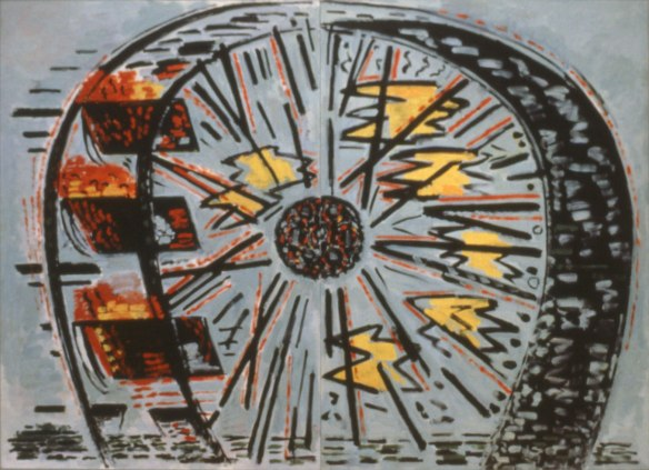 """The Wheel"" (detail), 1986, oil on line, courtesy of the Clark Estate Photo retrieved from FFWD Calgary."