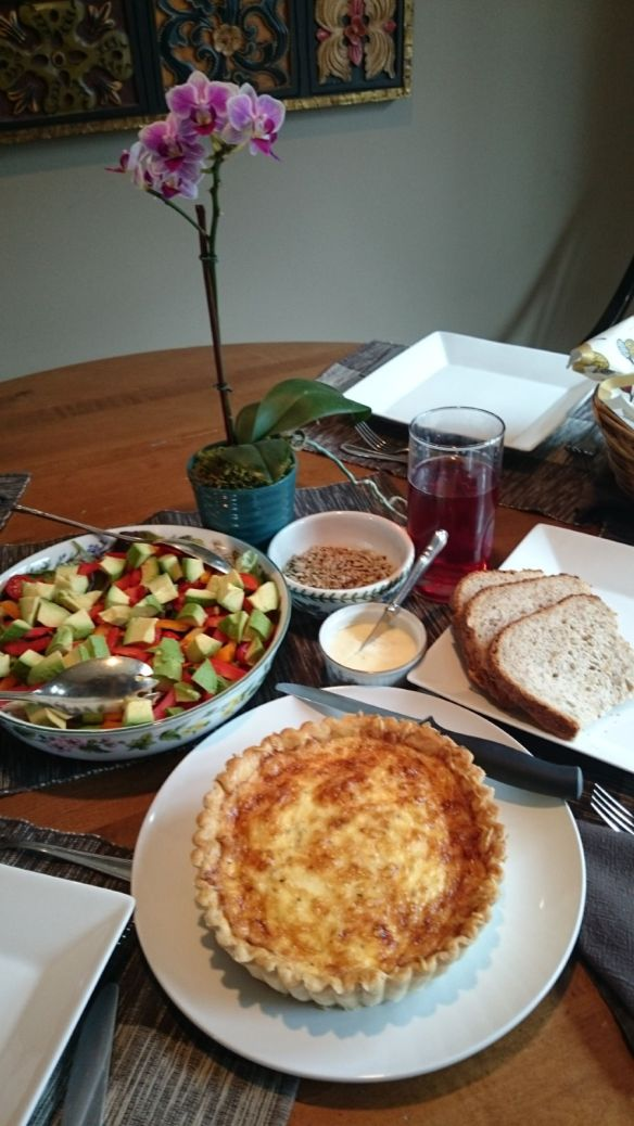 Quiche, Home Made Bread, Salad and the Glo's Gift of an Orchid