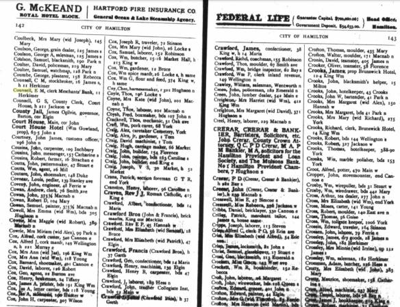 Hamilton Directory 1892-1893 E. M. Counsell