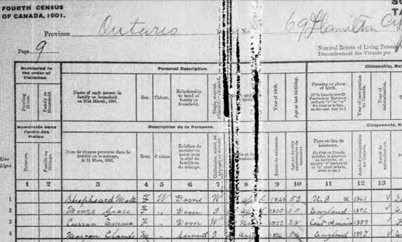 1901 Census Grace Moors 30 with Burton Family