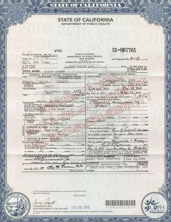 Alice Moors Death Certificate