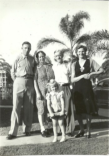 Robert A. McKeown, Rose & Harry Clayton, Edith Emily Haddow & Anne R. McKeown (me), Sept. 1945 San Diego, CA