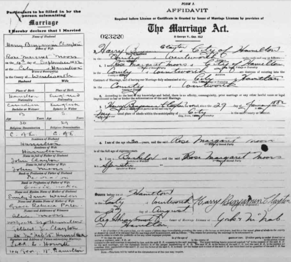 Rose Moors and Harry Clayton Marriage Certificate