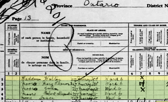 Walter Haddow 1921 Census Living on 227 Murray Street