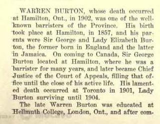 Warren Burton 61 Robinson Street Hamilton Page 1 Biography