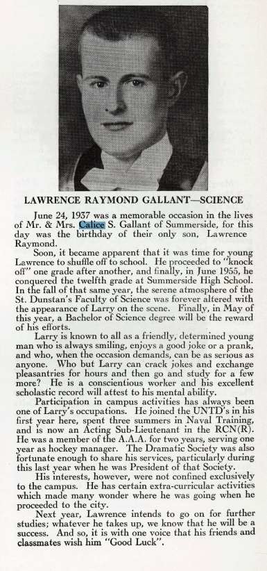 Calice Gallant's Son Lawrence Raymond Gallant