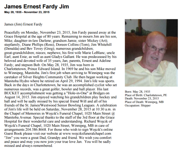Jimmy Fardy Obituary 2