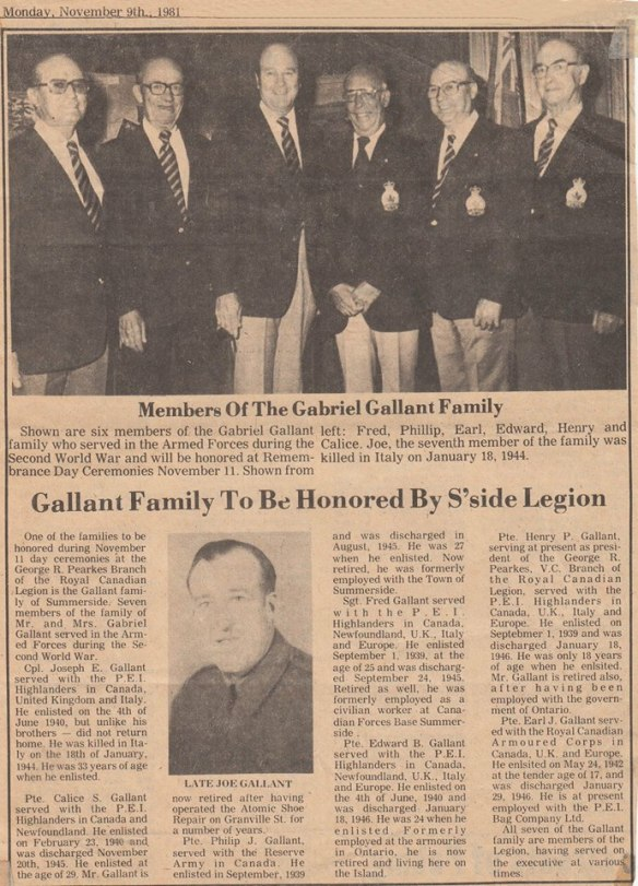 Newspaper Article as it appeared Gallant Boys