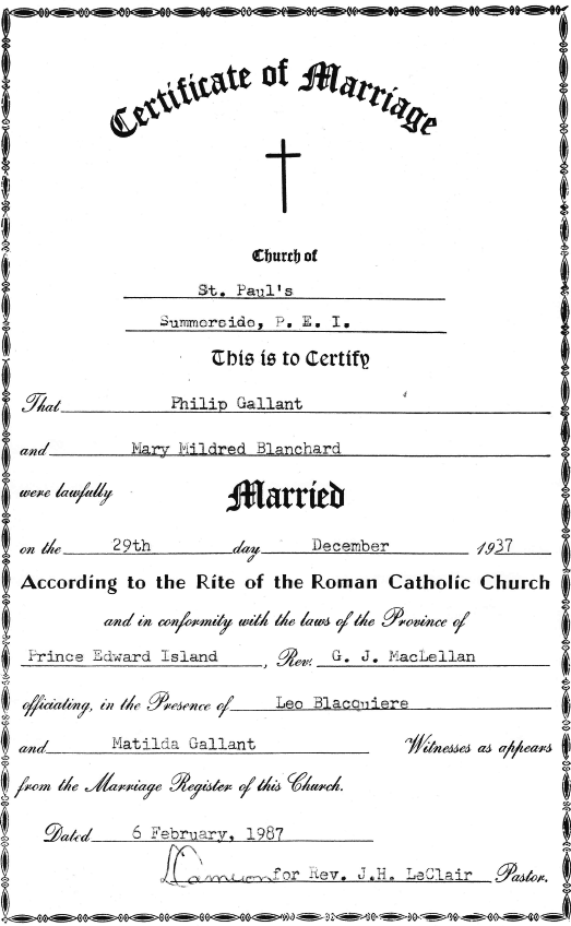 Philip Gallant marriage certificate