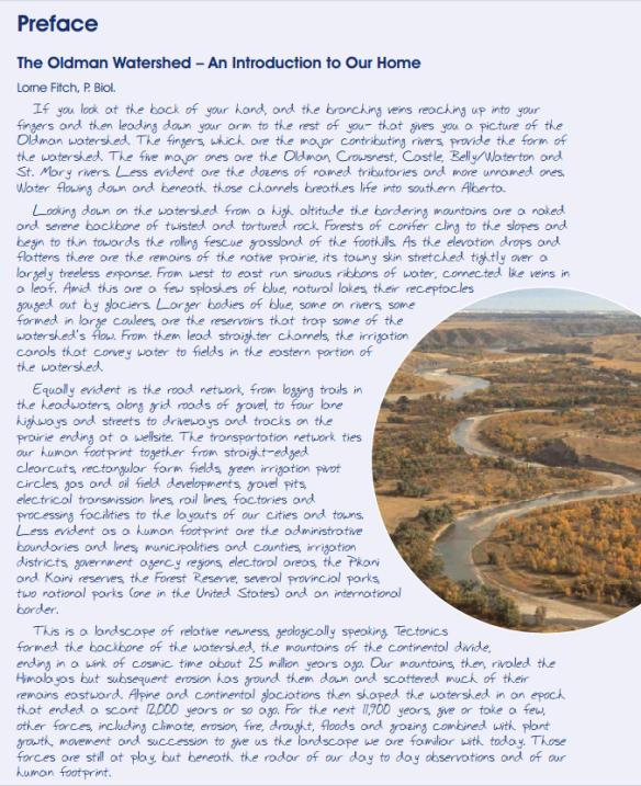 2010 Oldman Watershed Report Preface