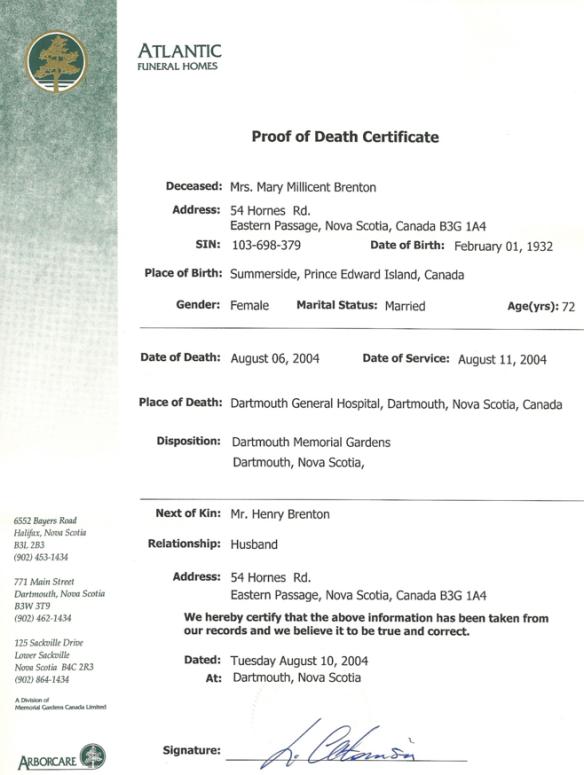 Millie Gallant death certificate