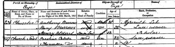 Caroline Calver and Thomaseen Calver 1851 Census Eye Suffolk England