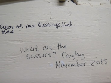 I didn't see this note about the scissors until today. Cayley, sorry that I wasn't helpful. lol The scissors are hanging in the scissor place over there!