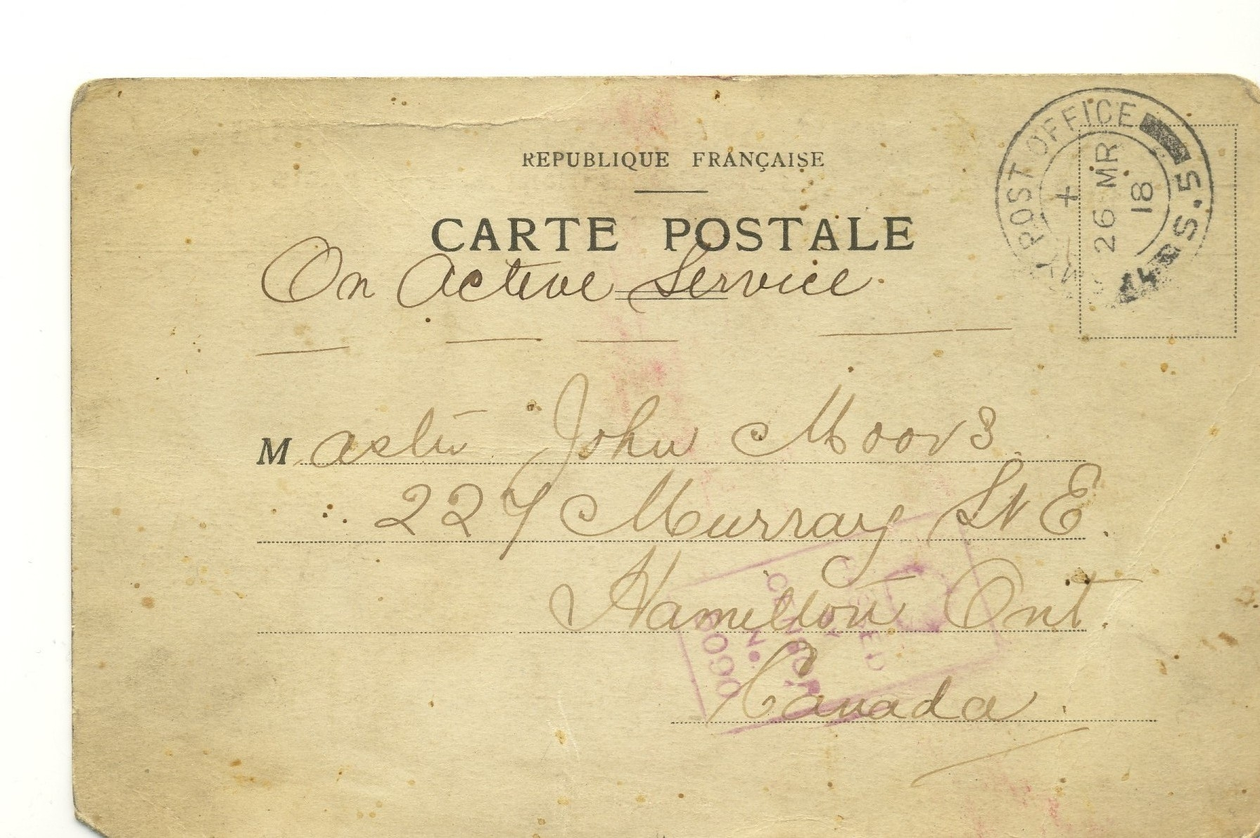Front Side Post Card John Moors