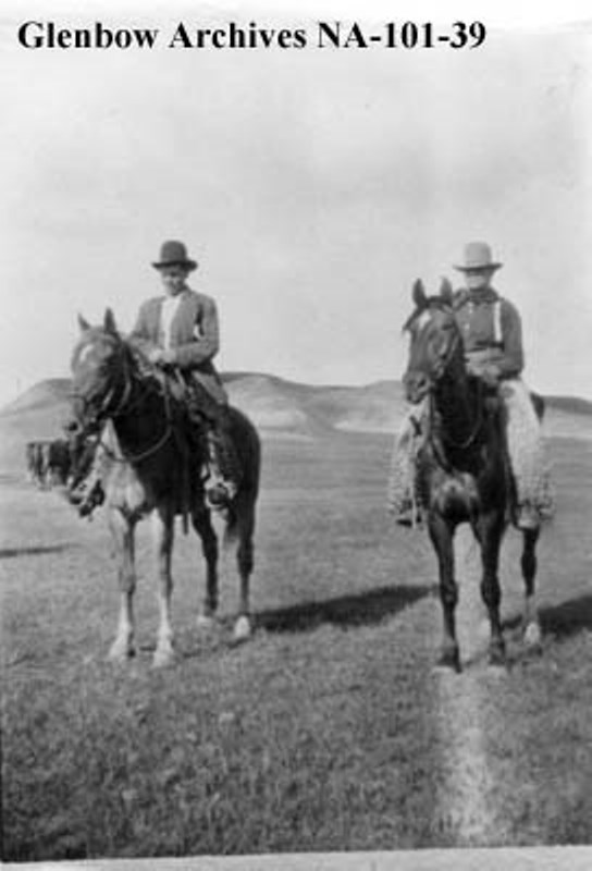 na-101-39 John 'Jack' Haddow and Wilfred Helmer riding the range 1910