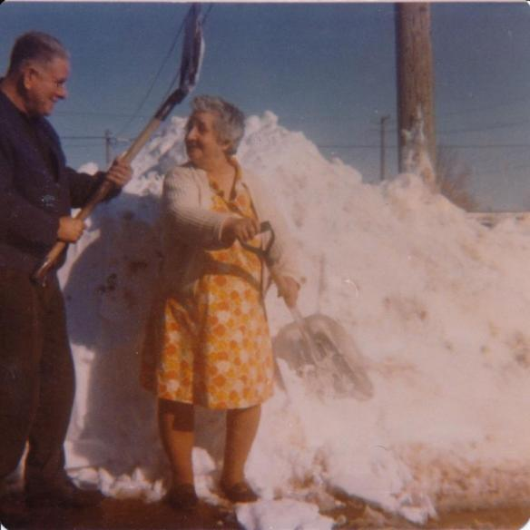 John Moors and Florence Moors big snow storm early 1970s Magrath, Alberta