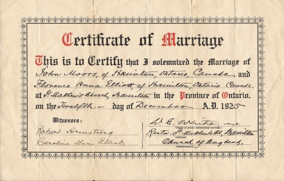 John Moors Florence Elliott Marriage Cert